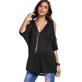 Plunging Neck Cold Shoulder Asymmetrical T-Shirt - XL XL