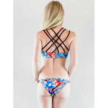 Sexy Strappy Criss-Cross Striped Flower Pattern Women's Bikini Set - M M