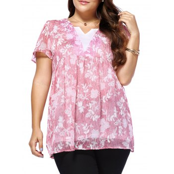 Sweet Plus Size Tiny Flower Pattern V Neck Women's Blouse
