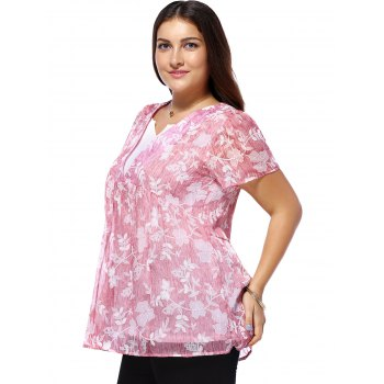 Sweet Plus Size Tiny Flower Pattern V Neck Women's Blouse - PINK L