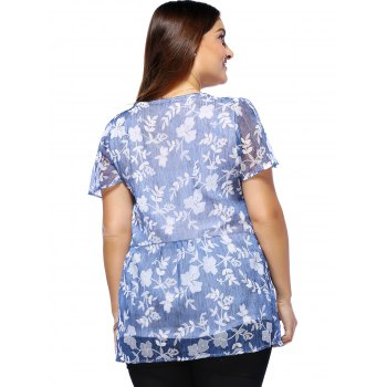 Sweet Plus Size Tiny Flower Pattern V Neck Women's Blouse - BLUE L