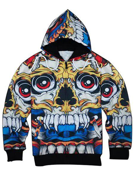 Slimming Modish Hooded 3D Cartoon Skull Print Long Sleeve Men's Cotton Blend Hoodie светофильтр digicare 40 5 mm mc uv ультрафиолетовый