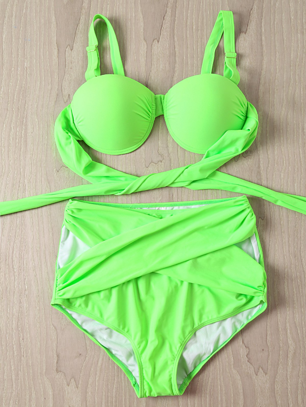Chic Criss-Cross Solid Color High Waist Plus Size Swimwear Twinset For Women - NEON GREEN 4XL