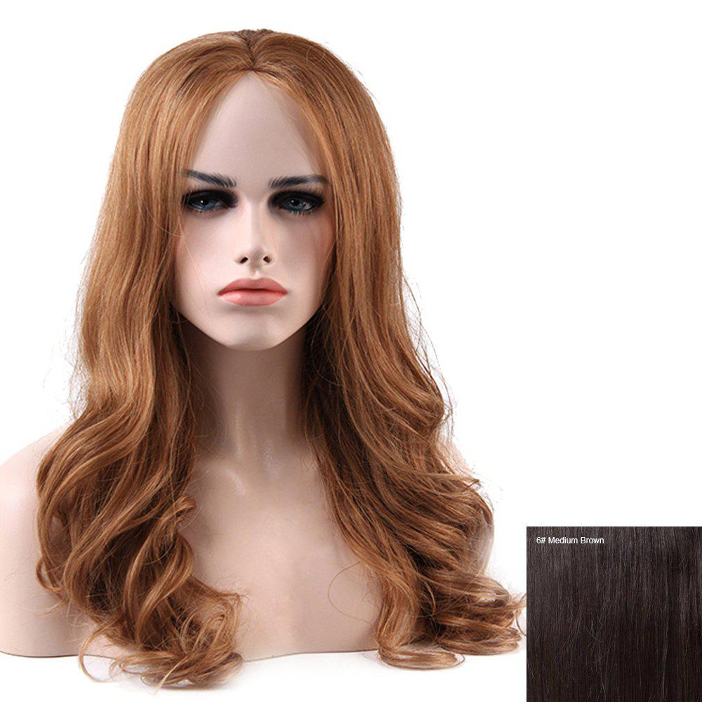 Women's Charming Human Hair Lace Front Long Curly Wig - MEDIUM BROWN