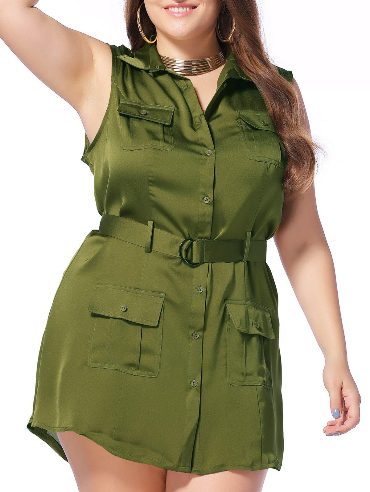 Military Style Plus Size Pockets Design Sleeveless Women's Shirt Dress - ARMY GREEN 5XL
