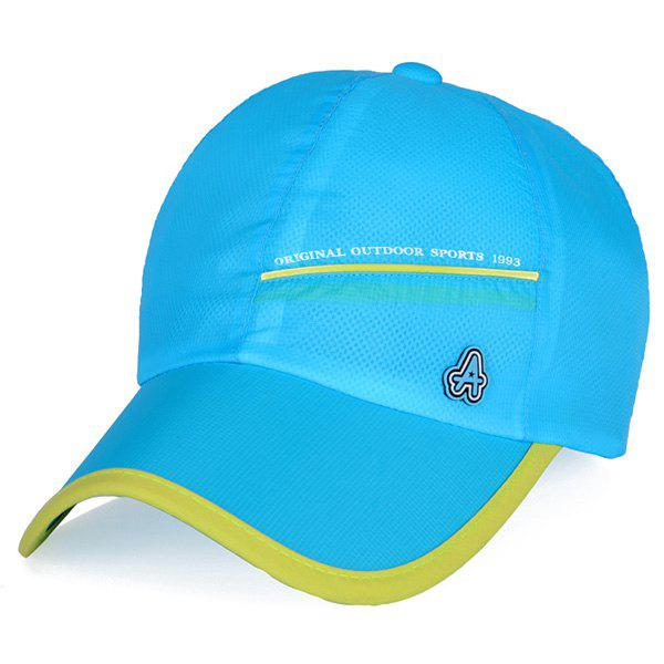 Fashion Letter A Rubber Outdoor Sport or Travelling Quick Dry Baseball Cap - LAKE BLUE