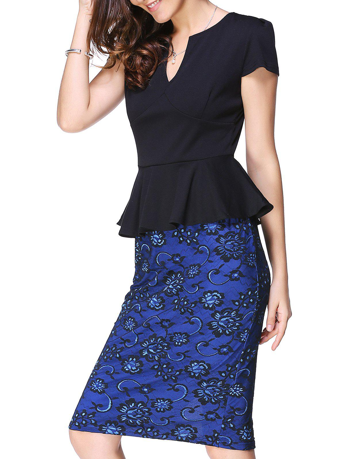 Graceful Womens Plunging Neck Short Sleeve Flounce Waist Bodycon DressWomen<br><br><br>Size: L<br>Color: BLUE AND BLACK