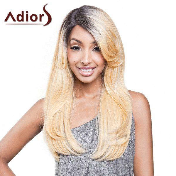 Gorgeous Black Blonde Ombre Capless Long Synthetic Adiors Wig For Women - COLORMIX