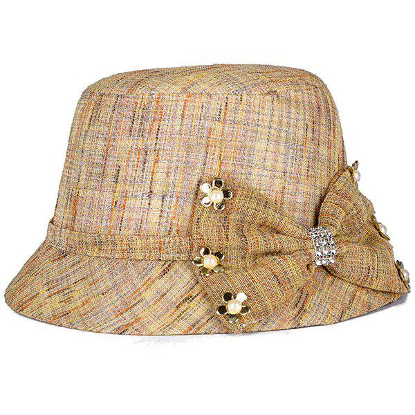 Chic Small Flower and Big Bow Embellished Sunscreen Women's Linen Bucket Hat - KHAKI