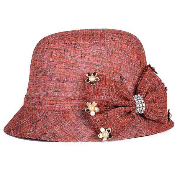Chic Small Flower and Big Bow Embellished Sunscreen Womens Linen Bucket HatAccessories<br><br><br>Color: DARK RED