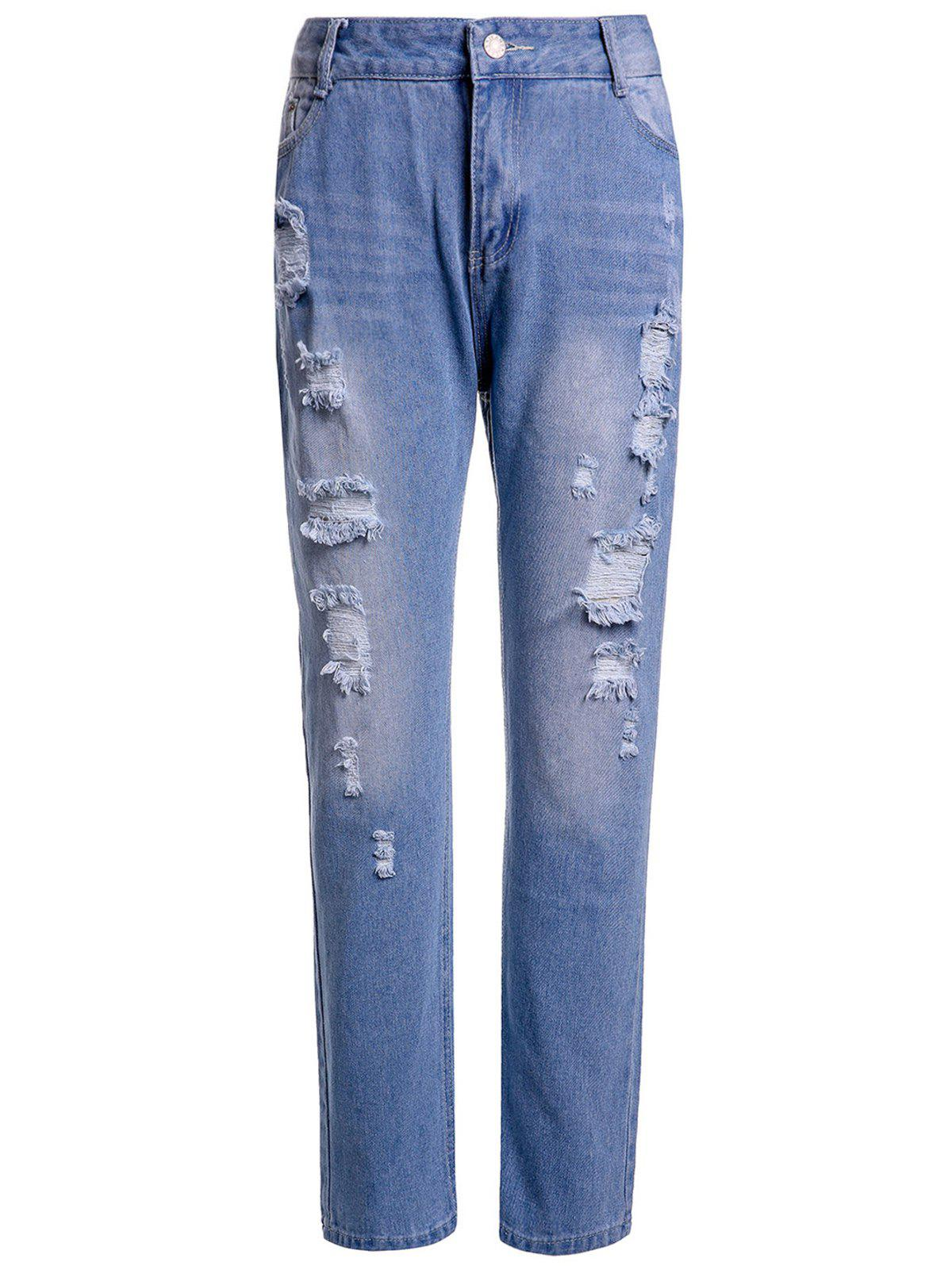 Casual High-Waisted Frayed Ripped Women's Ninth Jeans - BLUE M