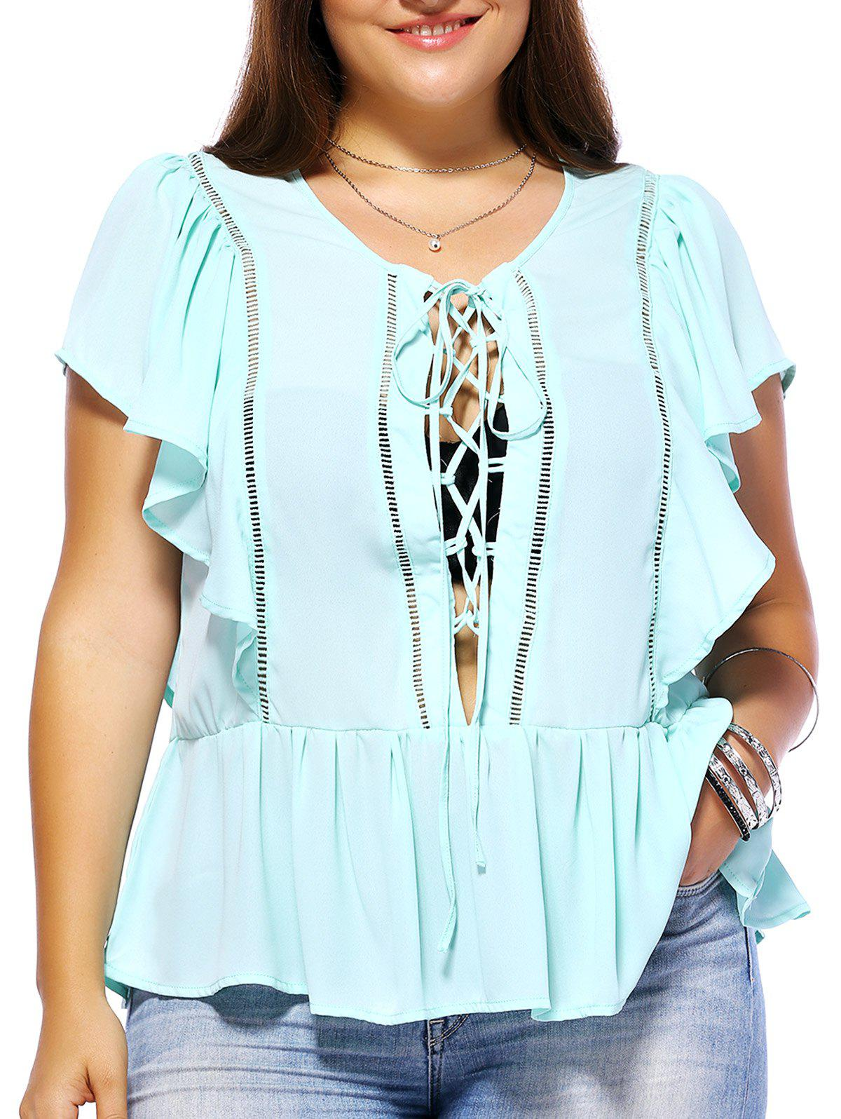 Sweet Plus Size Hollow Out Criss Cross Women's Chiffon Blouse - LIGHT GREEN 5XL