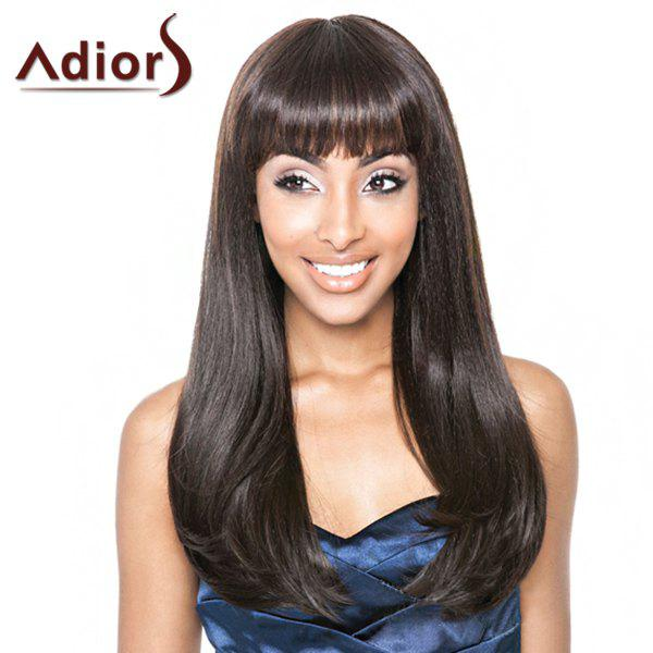Stylish Long Full Bang Dark Brown Straight Tail Adduction Synthetic Adiors Wig For Women - DEEP BROWN