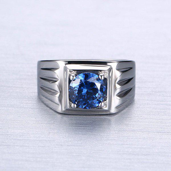 Punk Style Faux Sapphire Zigzag Silver Plated Ring For Men - SILVER