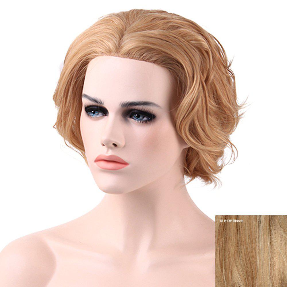 Women's Charming Human Hair Lace Front Curly Wig - BLONDE