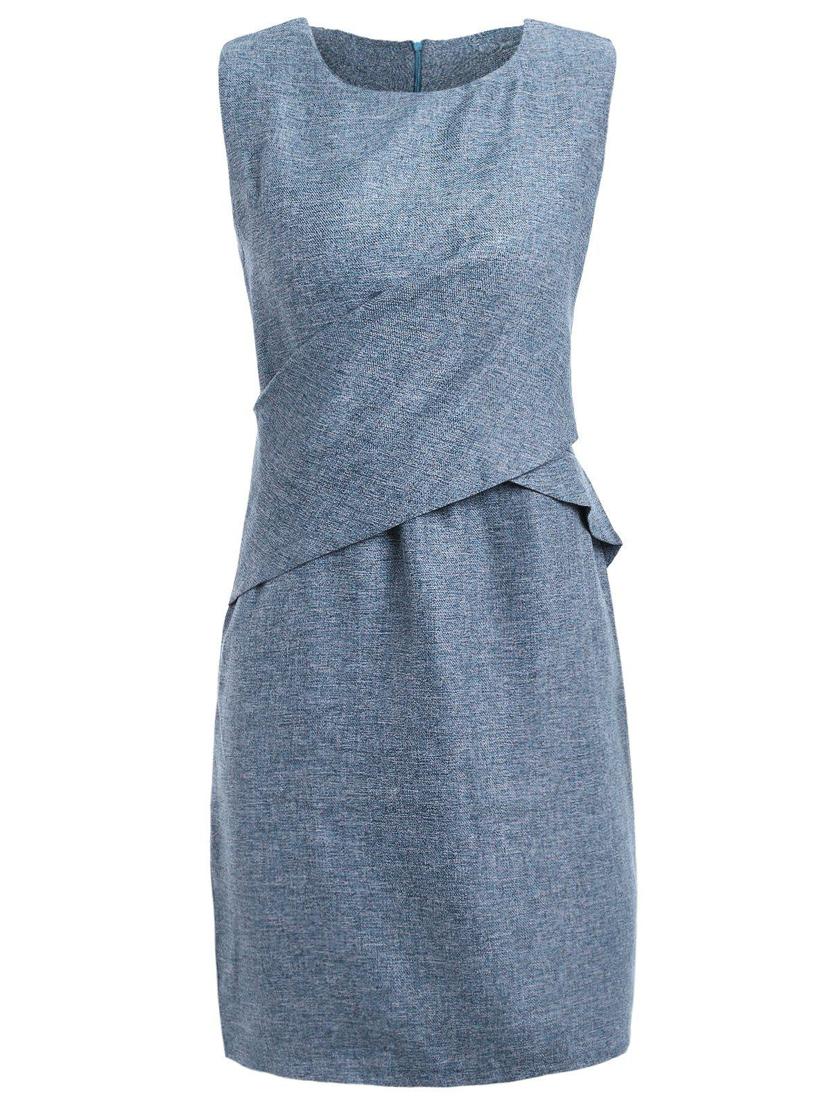 Fashionable Simple Scoop Neck Sleeveless Slim Waist Mid-Calf Dress For WomenWomen<br><br><br>Size: ONE SIZE(FIT SIZE XS TO M)<br>Color: ICE BLUE
