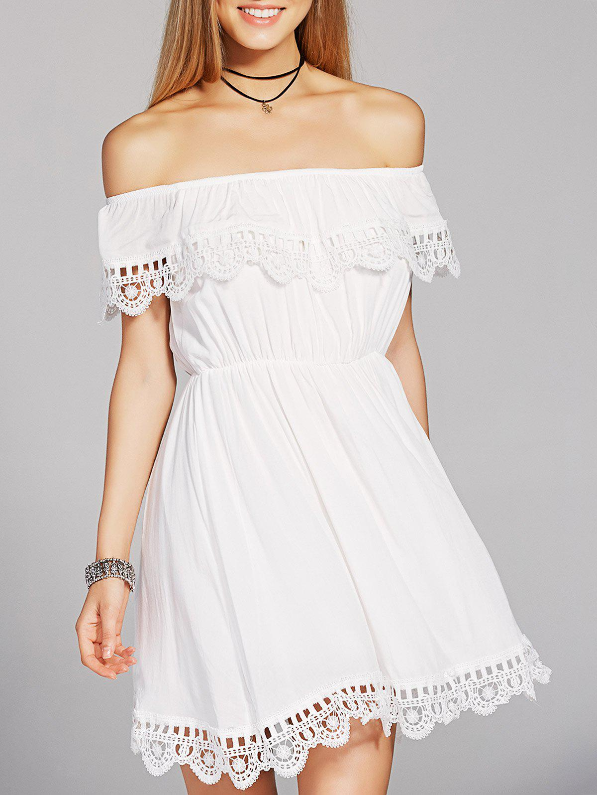 Stylish Women's Off The Shoulder High Waisted Crochet A-Line Dress - WHITE M