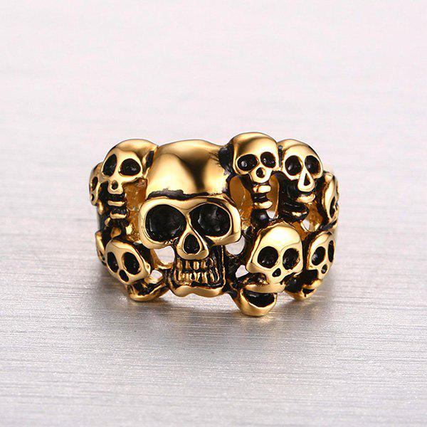 Punk Style Cut Out Etched Skull Ring - GOLDEN