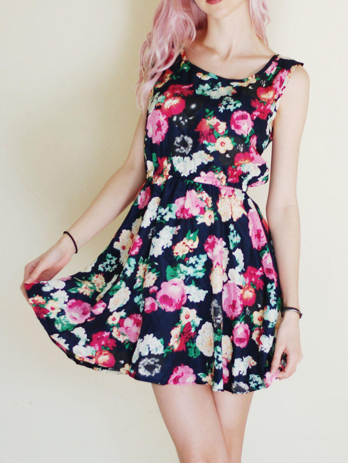 Scoop Collar Sleeveless Floral Print Chic A-Line Chiffon Women's Dress