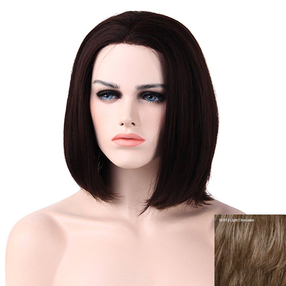 Women's Charming Human Hair Lace Front Straight Bob Wig - LIGHT CHOCOLATE