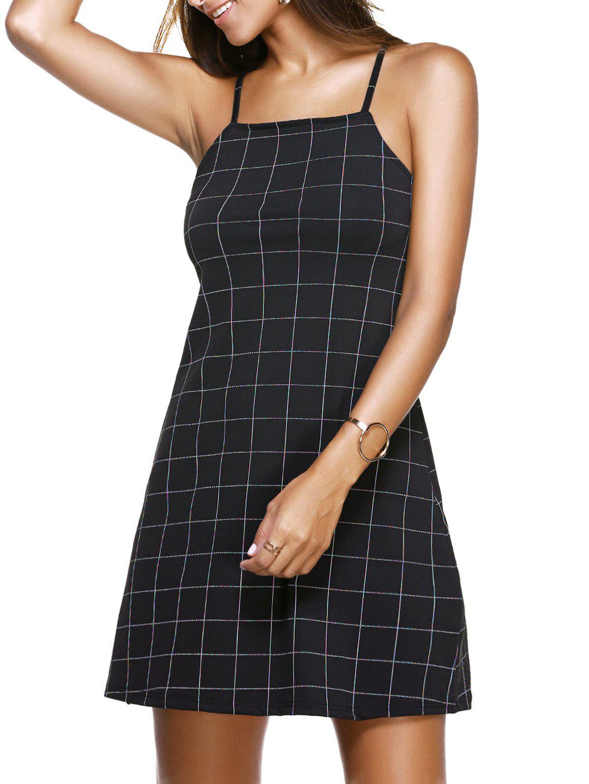 Charming Spaghetti Strap Slimming Plaid Women's Dress - BLACK XL