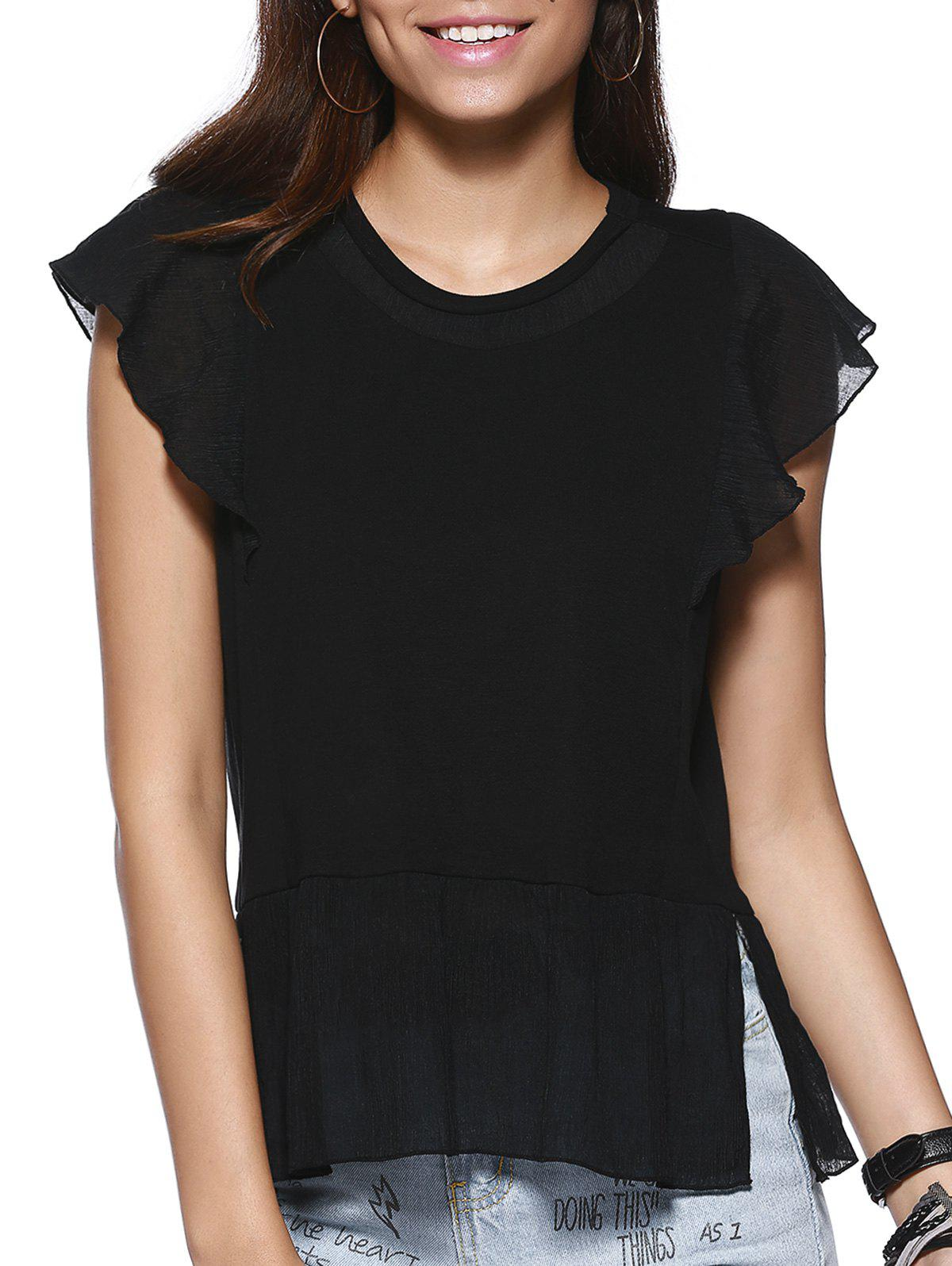 Flouncing Side Slit Lady's Blouse - BLACK ONE SIZE(FIT SIZE XS TO M)