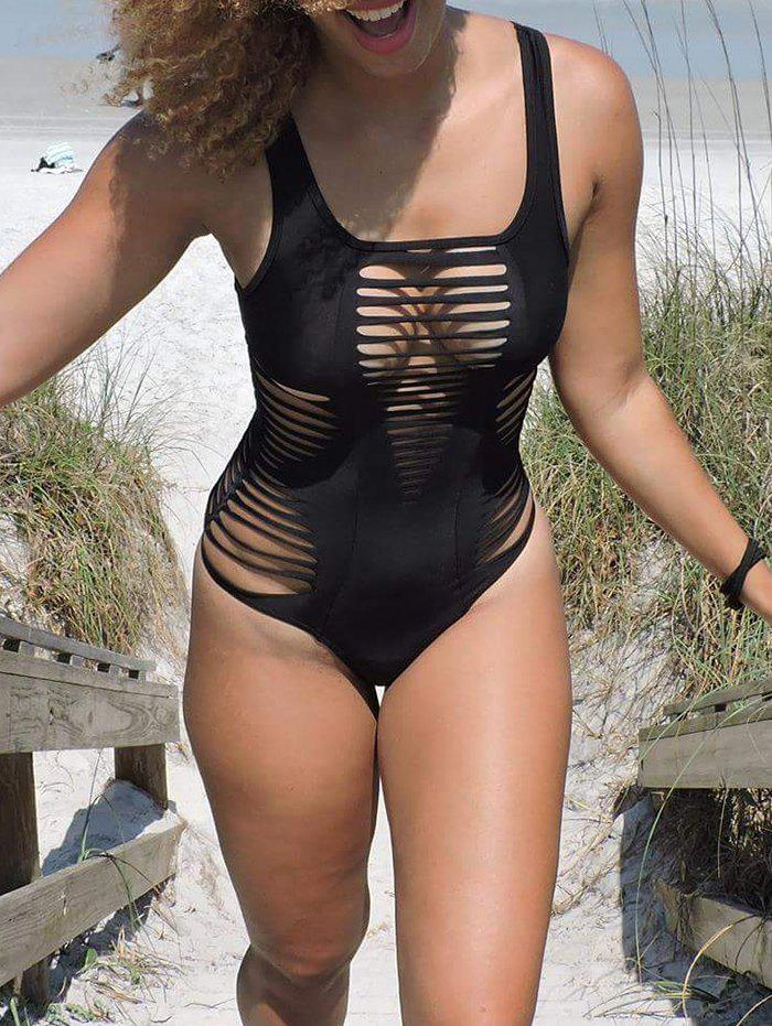 Sexy Square Neck Hollow Out Solid Color One-Piece Women's Swimwear - BLACK S
