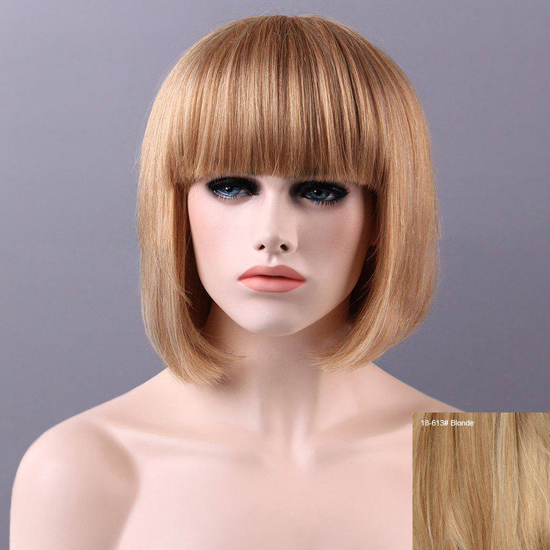 Women's Charming Human Hair Bob Full Bang Wig - BLONDE