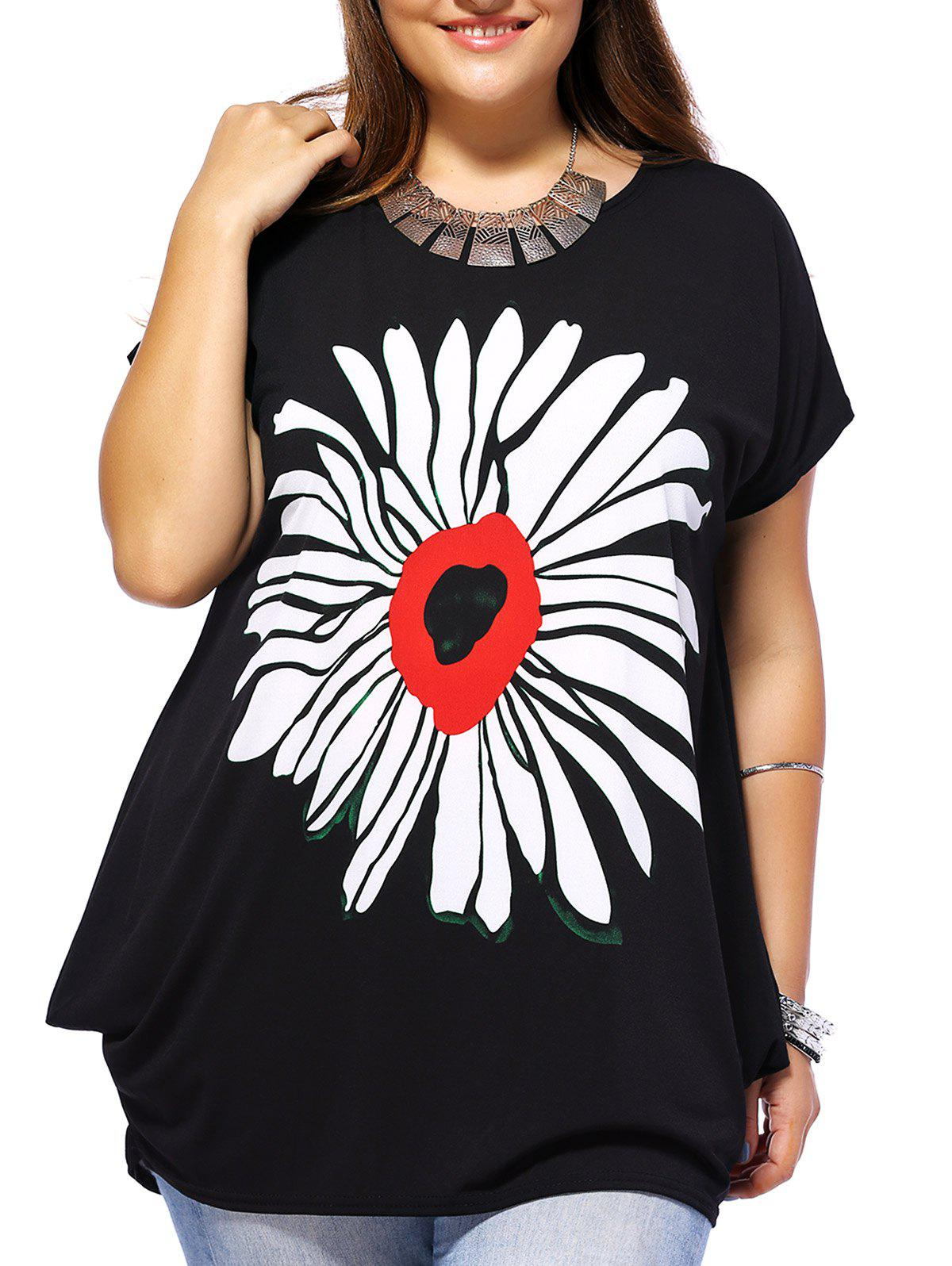 Floral Plus Size Baggy Tee - BLACK