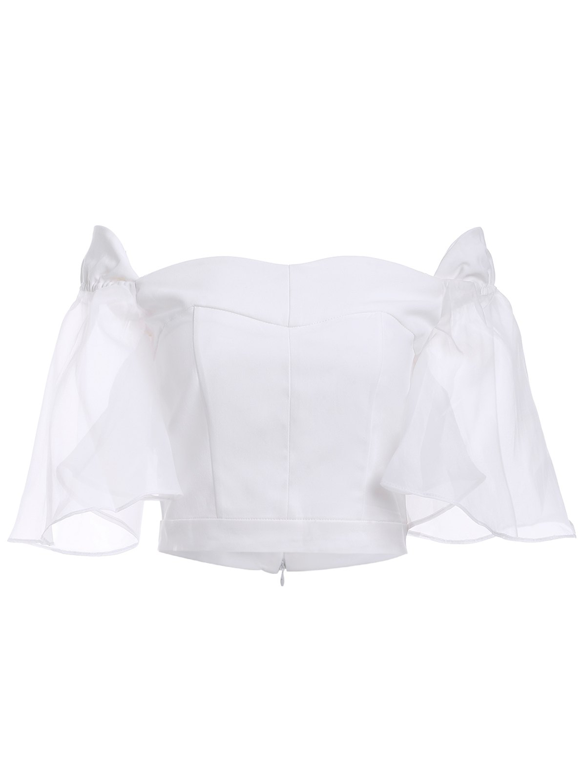 Sweet Women's Off-The-Shoulder Chiffon Puff Sleeves Crop Top - WHITE M