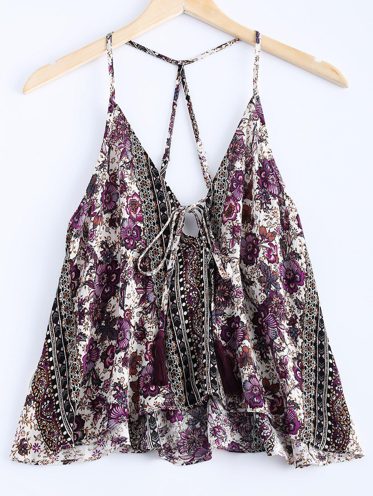 Ethnic Style Tassel Spaghetti Strap Print Tank Top For Women - VIOLET ONE SIZE(FIT SIZE XS TO M)
