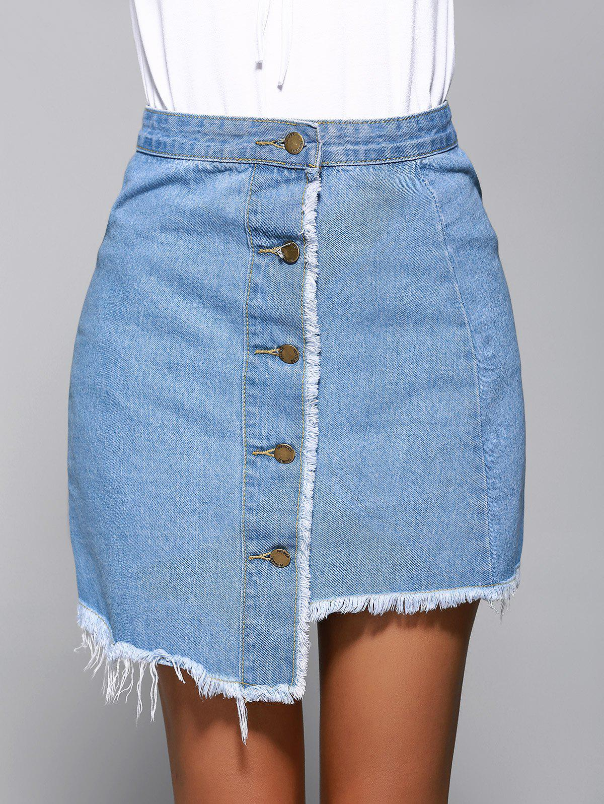 Stylish Irregular Denim Skirt For Women - DENIM BLUE M