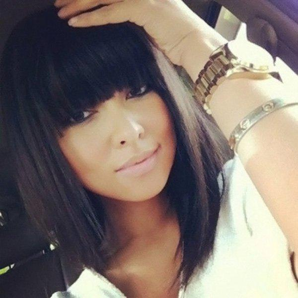 Women's Charming Human Hair Full Bang Bob Wig - BLACK