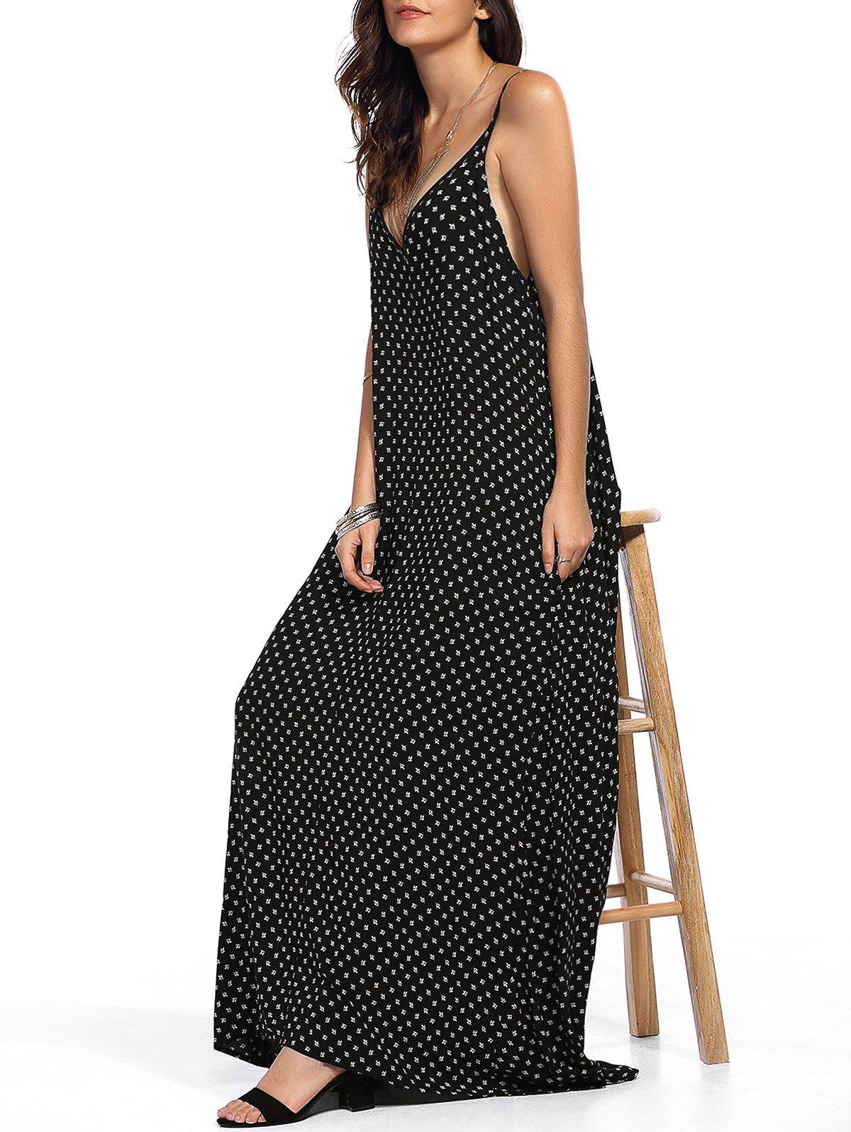 Alluring Printed Spaghetti Strap Maxi Dress - BLACK XL