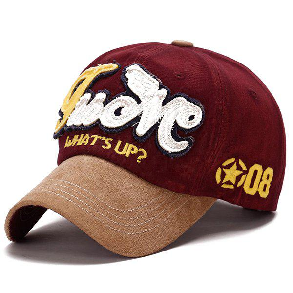 Fashion Letters Applique Star Numbers Embroidery Do Old Suede Baseball Cap - WINE RED