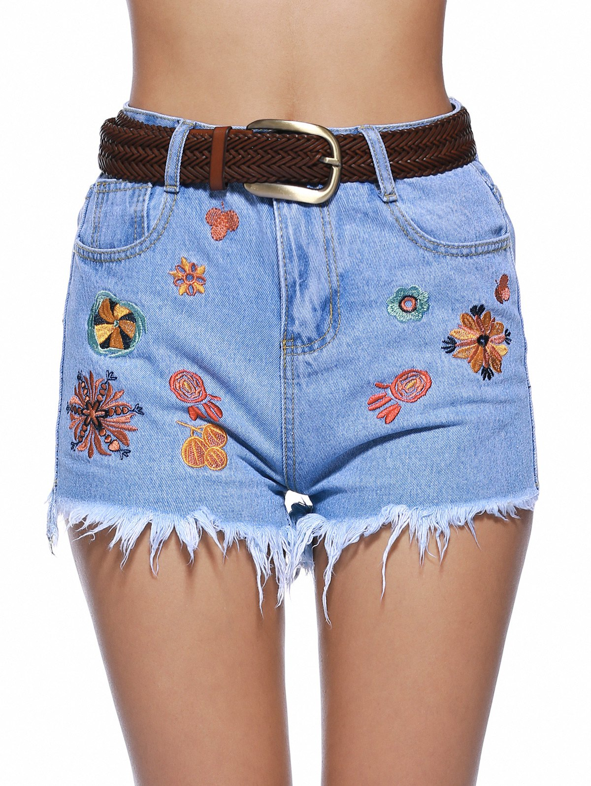 Stylish Embroidery Raw Hem Denim Shorts For Women - DENIM BLUE M
