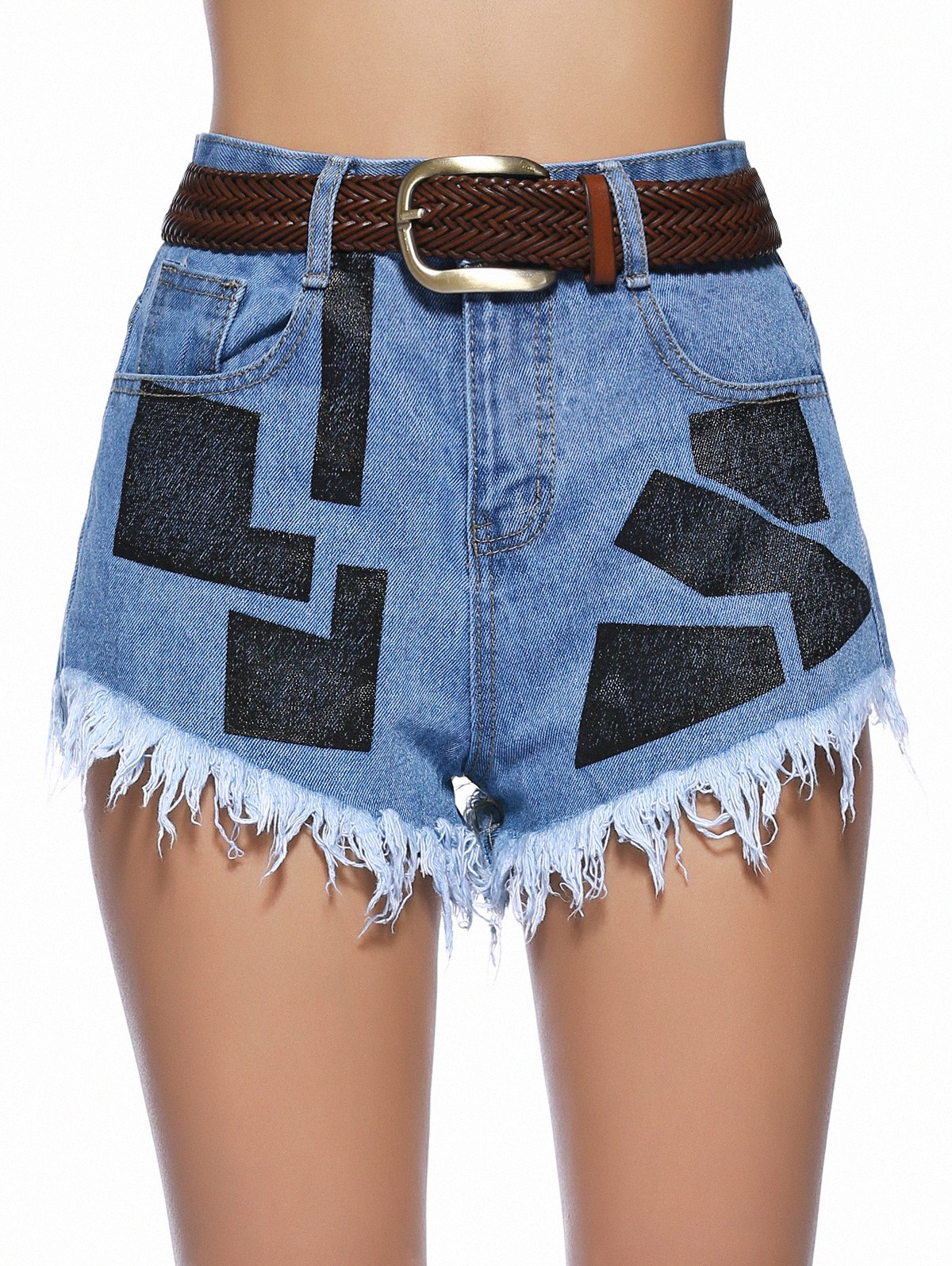 Stylish Geometrical Raw Hem Denim Shorts For Women - DENIM BLUE M
