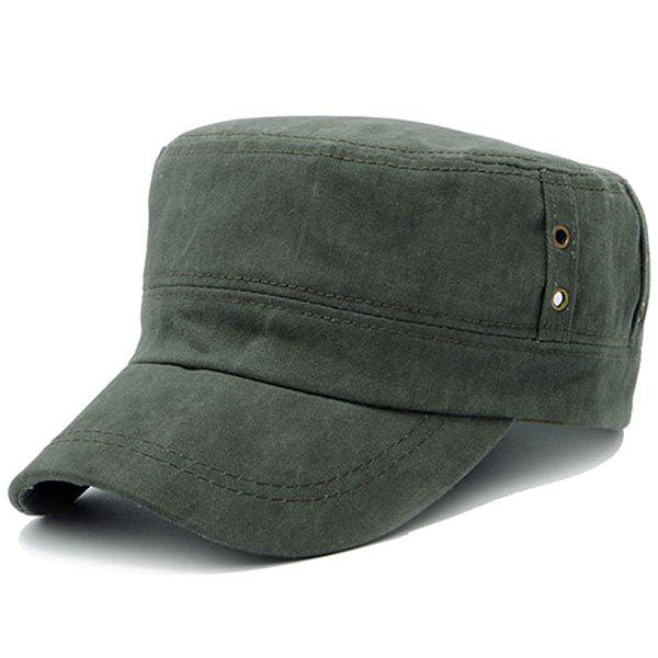 Stylish Hollow Out Circle Ring Flat Top Men's Military Hat - BLACKISH GREEN