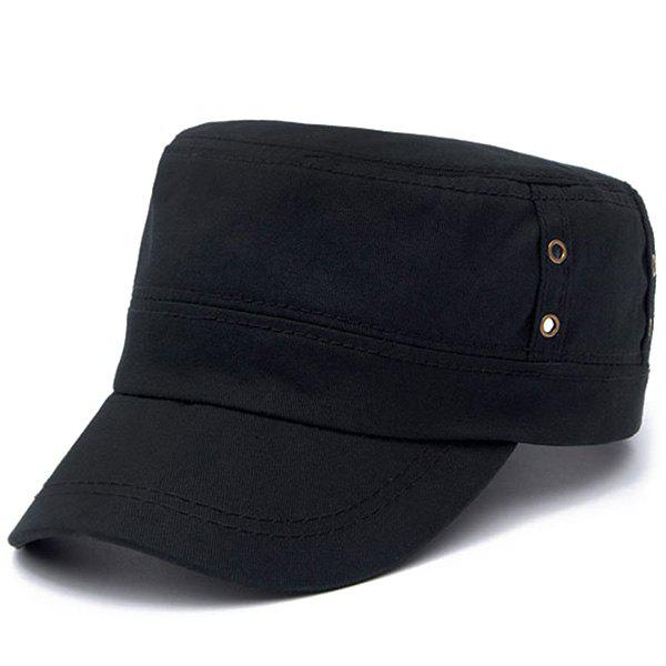 Stylish Hollow Out Circle Ring Flat Top Men's Military Hat - BLACK