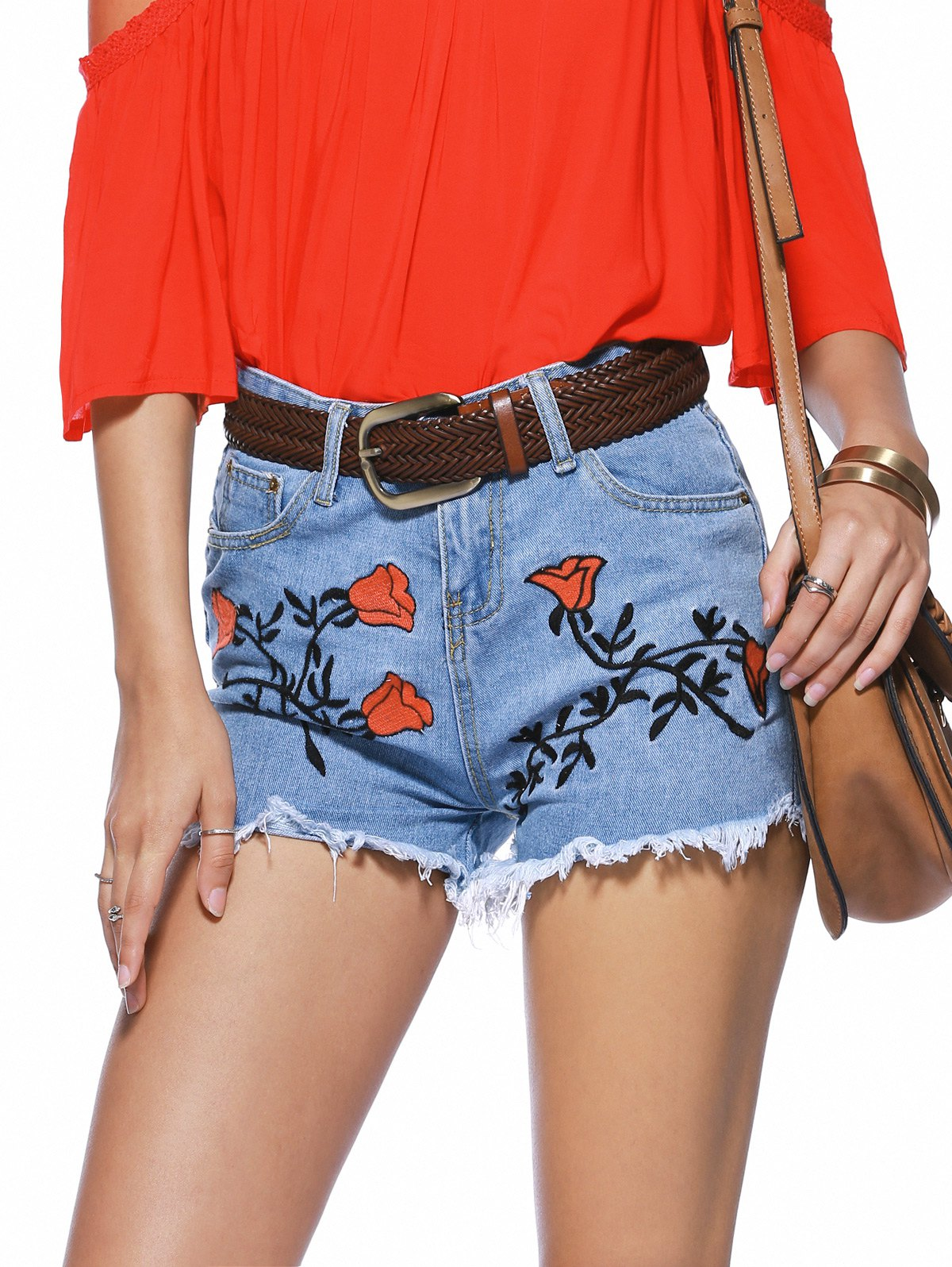 Stylish Floral Embroidery Raw Hem Denim Shorts For Women - L DENIM BLUE