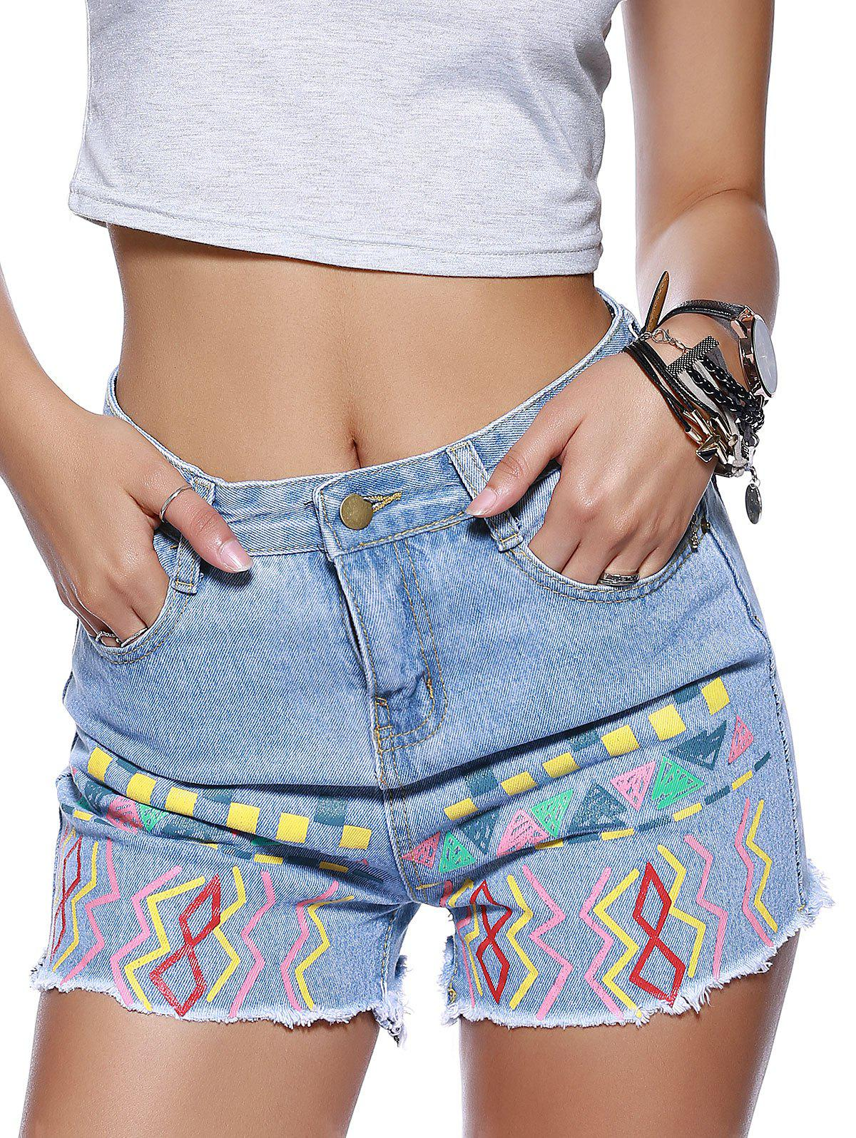 Stylish Ethnic Print Denim Shorts For Women - DENIM BLUE L