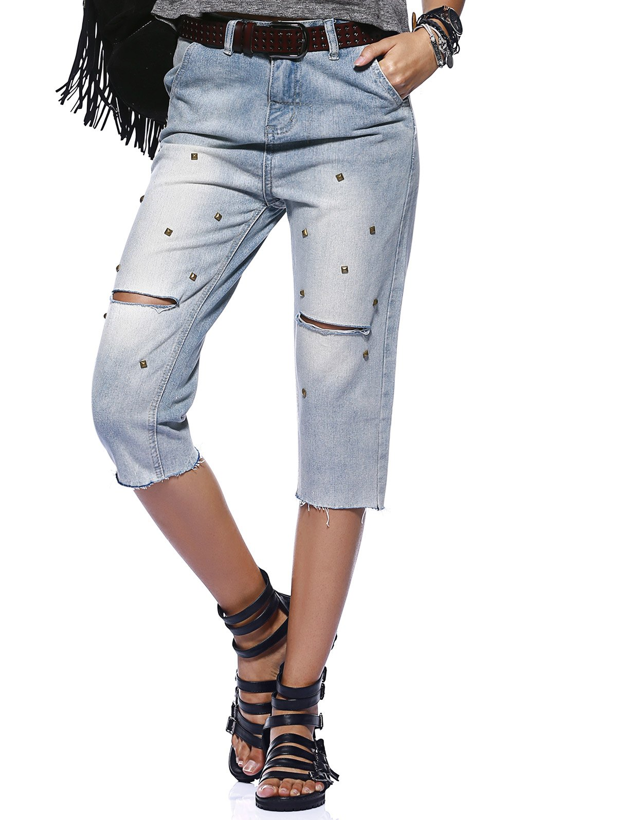 Smiple Rivet Distressed Wash Frayed Hole Cropped Jeans For Women