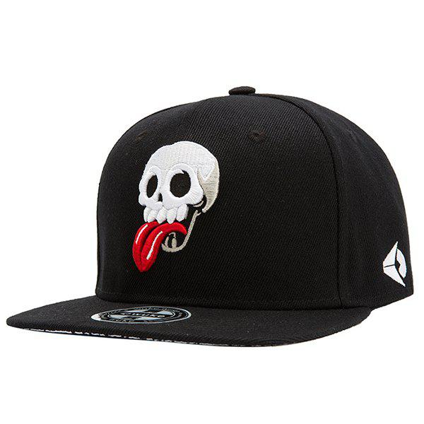 Fashion Red Tongue and Skull Embroidery Street Hip Hop Black Baseball Cap - BLACK
