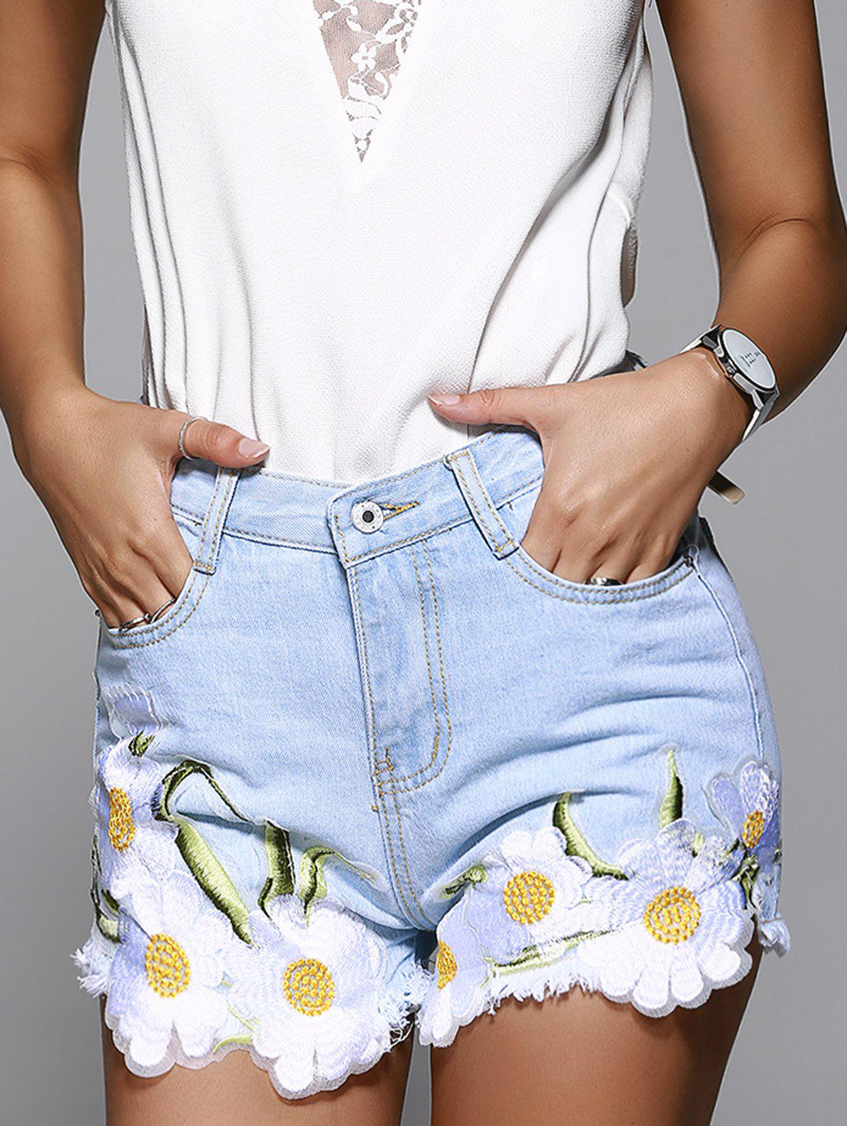 Stylish High Waist Denim Shorts With Lace Hem For Women - LIGHT BLUE L
