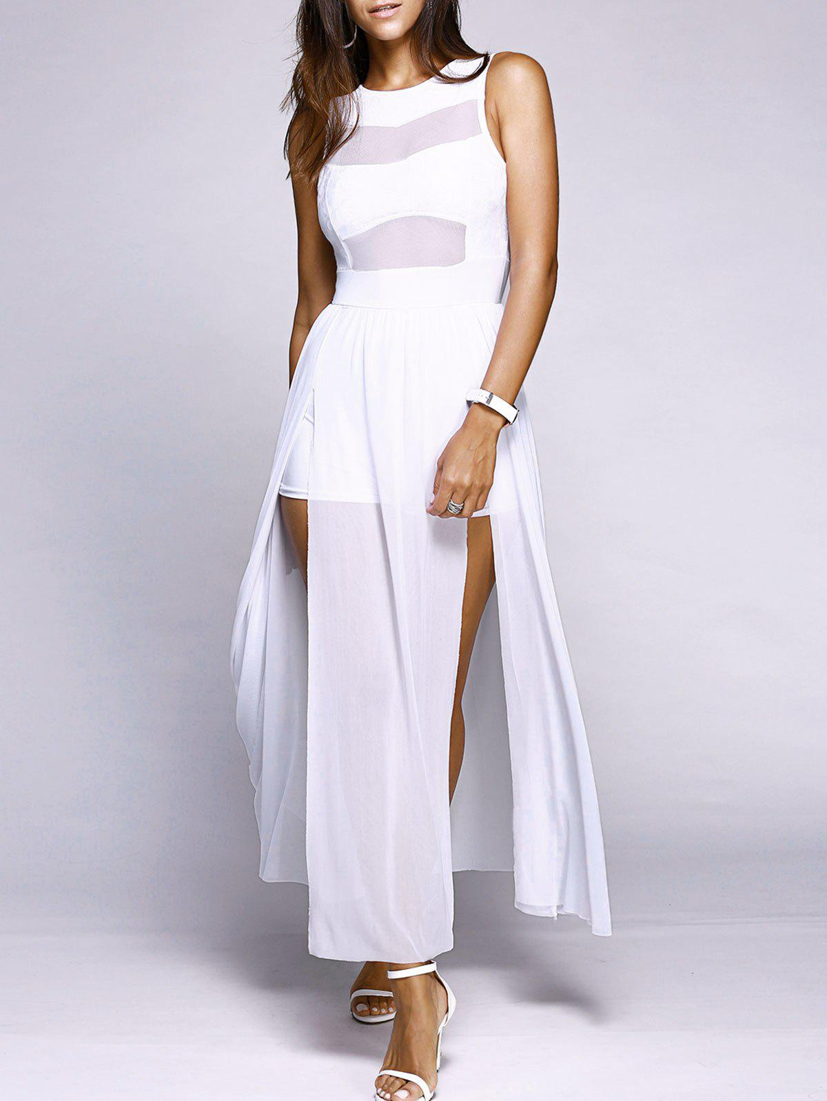 Alluring Sleeveless Round Neck Voile Spliced High Slit Women's Dress - WHITE L