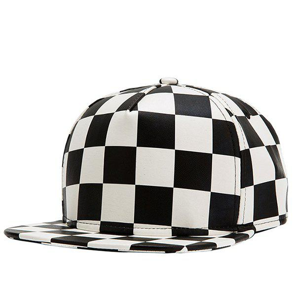 Hip Hop Street Fashion Black and White Checked Pattern PU Baseball Cap