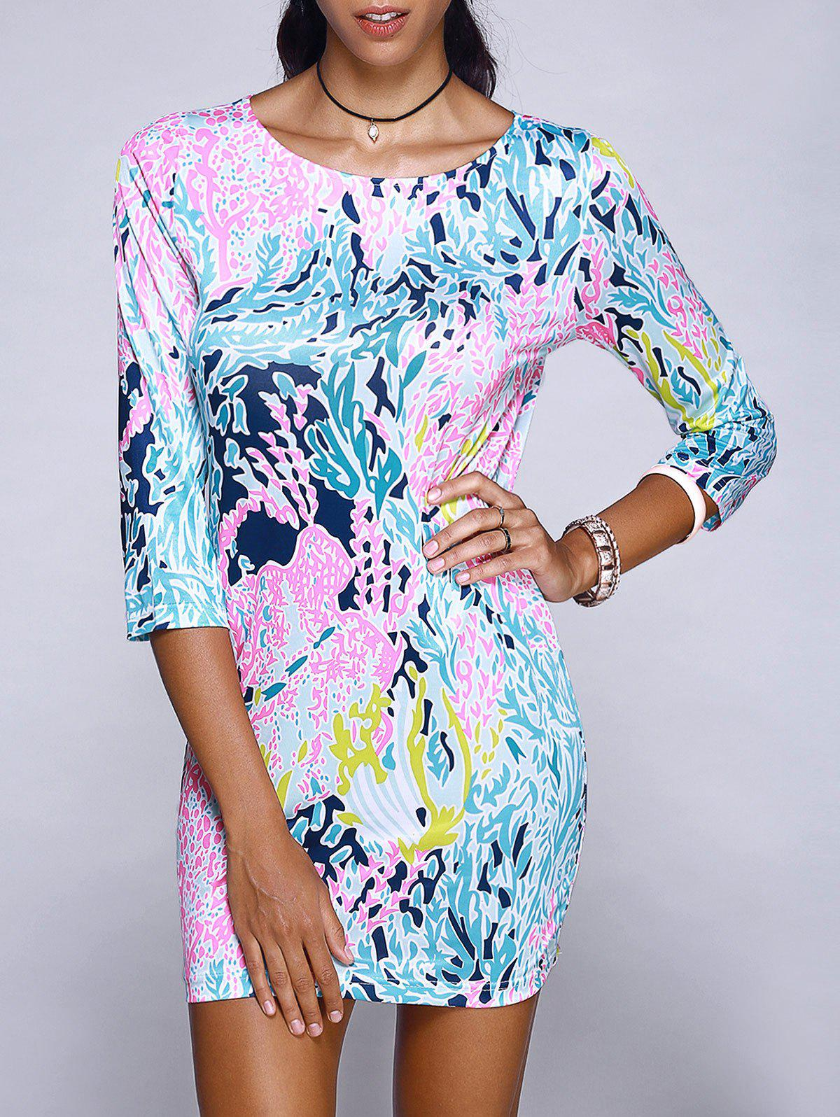 Chic Scoop Neck Abstract Plant Print Mini Dress For Women - COLORMIX XL
