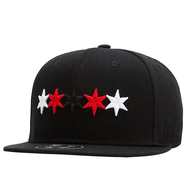 Fashion Three Colors Five-Pointed Stars Embroidery Street Hip Hop Black Baseball Cap - BLACK