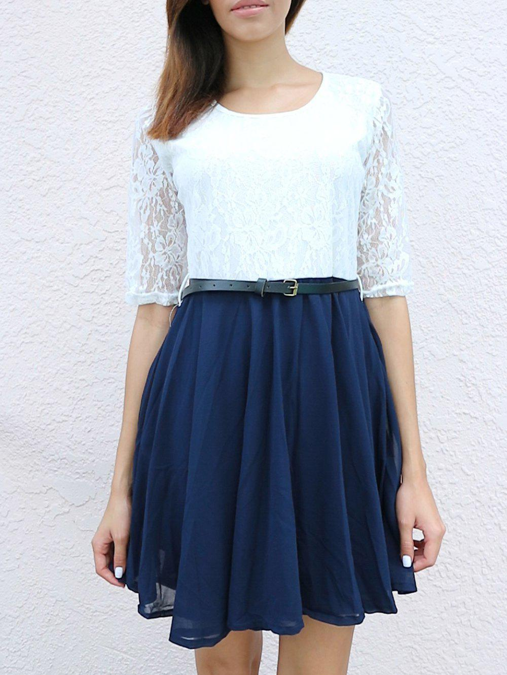 Women's Graceful Color Matching Pleated Lace Splicing Half Sleeve Dress - WHITE M