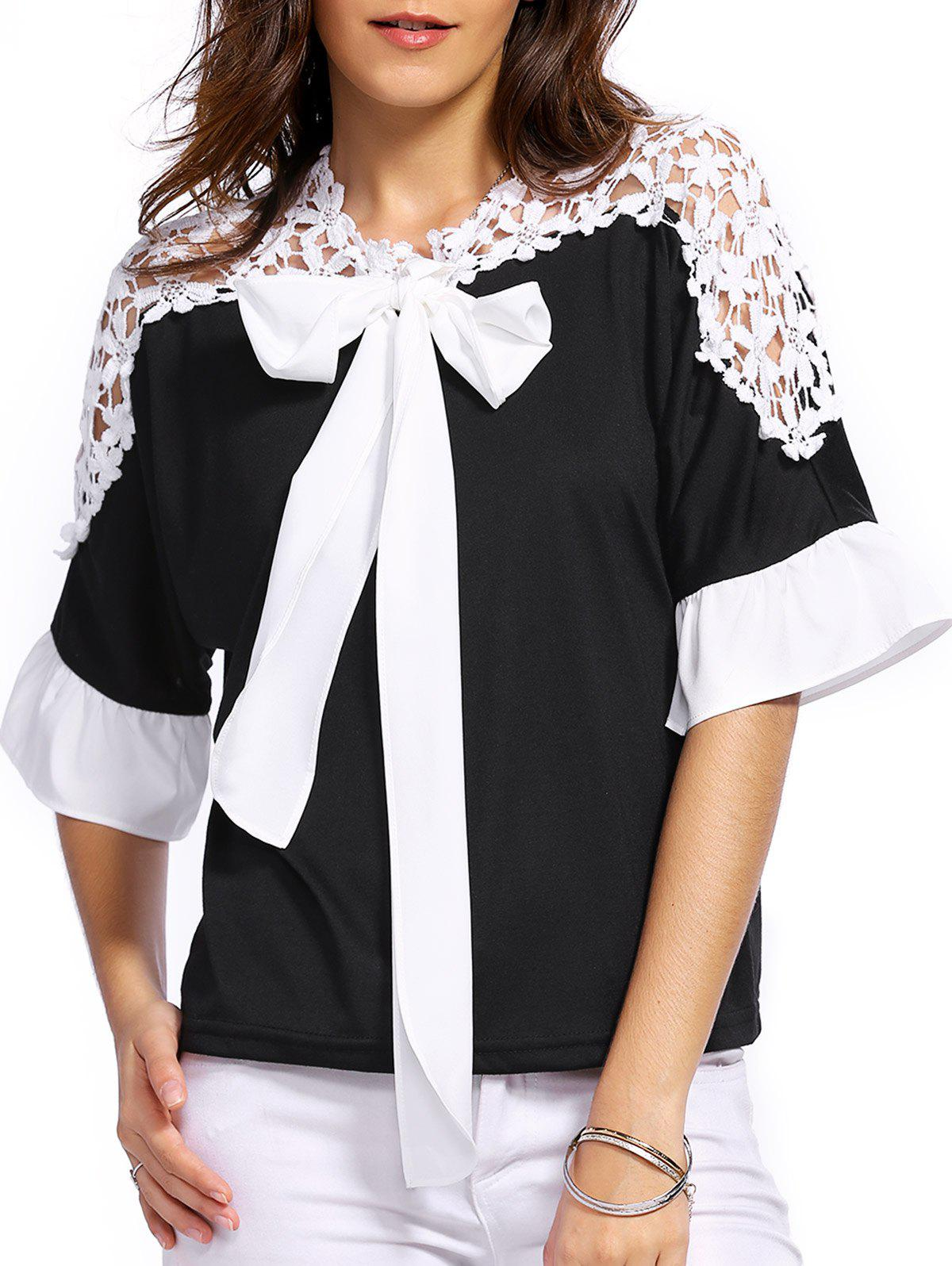 Bowknot Embellished 3/4 Sleeve Lace Splicing Blouse - WHITE/BLACK XL